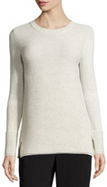 St. John Ottoman-Stitch Knit Crewneck Sweater, Putty Melange
