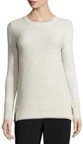 St. John Ottoman-Stitch Knit Crewneck Sweater, Putty Melange