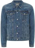 Topman Blue Studded Denim Jacket