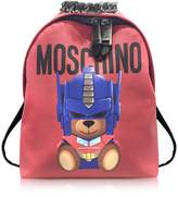 Moschino Transformers Red Print Polyurethane Backpack w/Logo