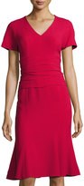 Carolina Herrera V-Neck Crepe Shirred-Waist Dress, Medium Red