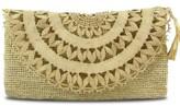 BEIGE Elise Raffia Evening Clutch Bag In Natural