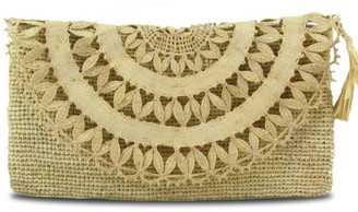 Elise Raffia Evening Clutch Bag In Natural Beige