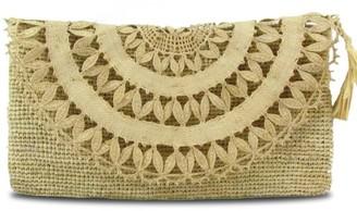Maraina London Elise Raffia Evening Clutch Bag In Natural Beige