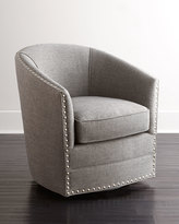 Horchow Bryn St. Clair Light Gray Tweed Swivel Chair