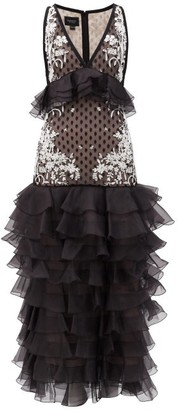 Giambattista Valli Ruffled Polka-dot Silk-organza Gown - Black