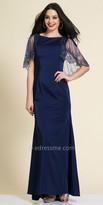 Dave and Johnny Beaded Cape Sheath Evening Dress