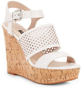French Connection Devi Perforated Leather Wedge Sandals