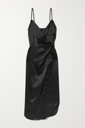 Alexander Wang Wrap-effect Knotted Silk-charmeuse Midi Dress - Black