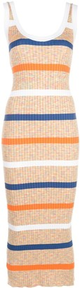 M Missoni Striped Ribbed-Knit Tank Dress
