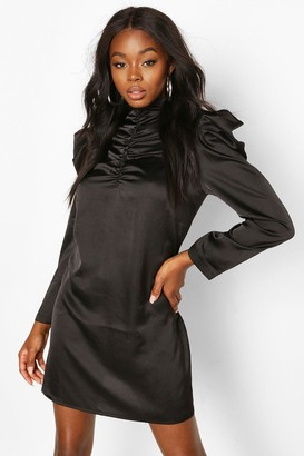 boohoo Satin High Neck Ruched Shift Dress