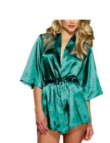 Rokou Women Sexy Lingerie Satin Silk Kimono Robe Sleepwear Nightgown with Belt