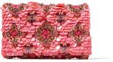 Oscar de la Renta Embellished Satin Clutch - Pink