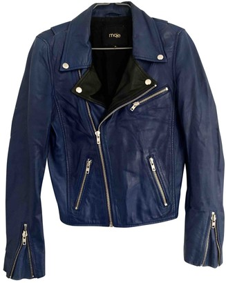 Maje Blue Leather Jackets