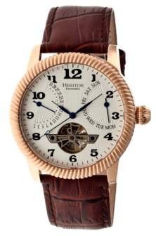 Heritor Automatic Piccard Rose Gold & Silver Leather Watches 44mm