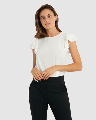 Forcast Women's White Shirts & Blouses - Liz Ruffle Sleeve Top - Size One Size, 6 at The Iconic