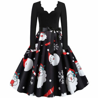 CHMORA Women's Christmas Print V-Neck Long-Sleeved Dress Autumn and Winter Skirt Suitable for Christmas Parties Dinners Dates