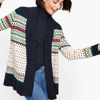 Talbots Fair Isle Shawl Collar Open Sweater