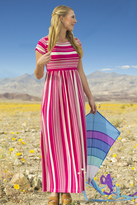 Shabby Apple Sara Jersey Striped Maxi Dress Pink