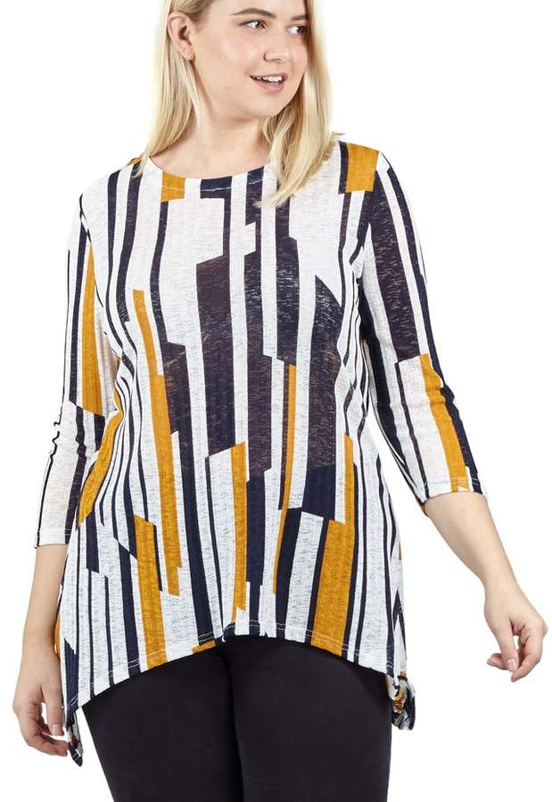 M&Co Izabel Curve abstract striped knit top
