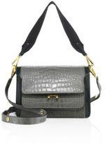 Marni Trunk Croc-Embossed Leather Shoulder Bag