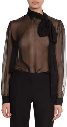 Valentino Silk Georgette Tie-Neck Blouse