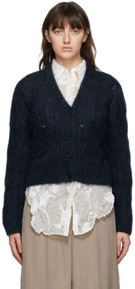 Nina Ricci Navy Mohair Cable Knit Cardigan