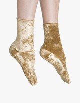 Gold Foil Crushed Velvet Socks