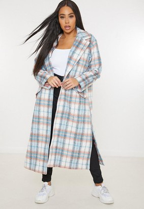 Missguided Plus Size White Brushed Plaid Formal Coat