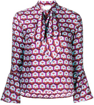 La DoubleJ geometric print pussy bow blouse