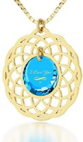 """Nano Jewelry Gold Plated I Love You Necklace Inscribed with Infinity in 24k Gold on Cubic Zirconia - Mandala Pendant, 18"""""""