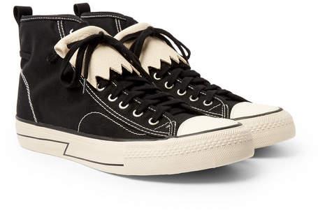 Visvim Skagway Fringed Leather-Trimmed Canvas High-Top Sneakers - Black