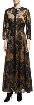 Lafayette 148 New York Cadenza 3/4-Sleeve Renaissance Paisley Maxi Dress