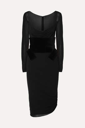 Tom Ford Belted Crepe And Velvet Midi Dress - Black