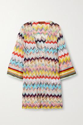 Missoni Mare Lace-up Crochet-knit Kaftan - Beige