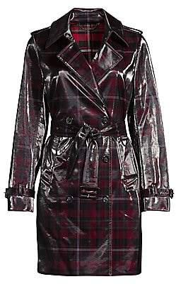Elie Tahari Women's Natania Laminated Plaid Trench Coat