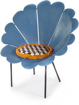 Mackenzie Childs MacKenzie-Childs Blue Daisy Outdoor Chair with Cushion