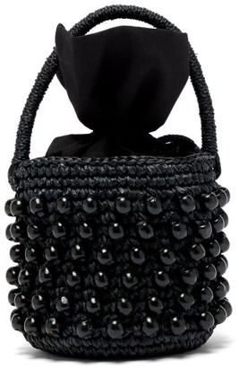 Sensi Studio - Beaded Toquilla Straw Bucket Bag - Womens - Black