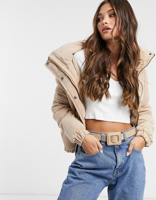 Brave Soul slay puffer jacket in cord