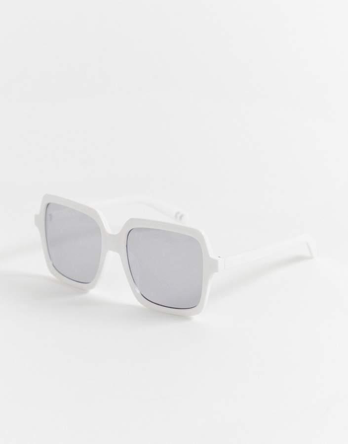 0266a520d72fe White Frame Square Sunglasses - ShopStyle