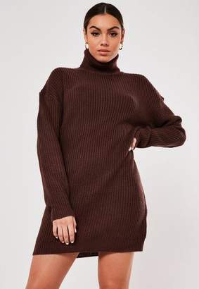 Missguided Brown Turtle Neck Sweatert Dress