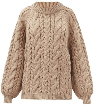 Mr Mittens - Maxi Cable Wool Sweater - Light Brown