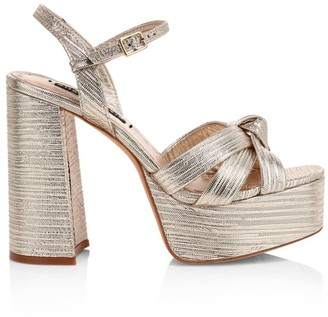 Alice + Olivia Veren Metallic-Leather Platform Sandals