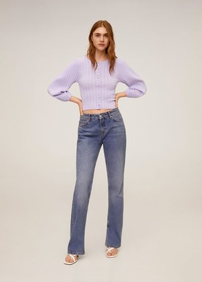 MANGO Buttoned ribbed cardigan light/pastel purple - M - Women