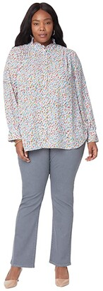 NYDJ, Plus Size Size Plus Size Ruffle Neck Blouse (Creekside Blossoms) Women's Clothing