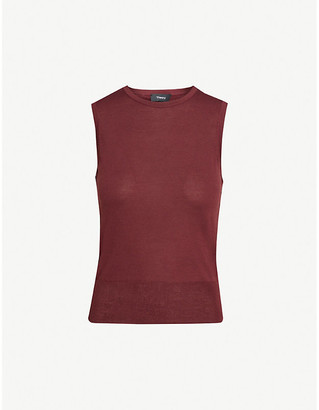 Theory Sleeveless silk-blend knitted top