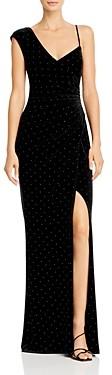 BCBGMAXAZRIA One-Shoulder Studded Velvet Gown