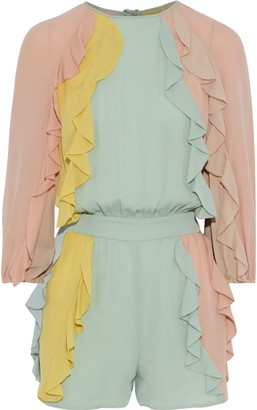 Valentino Ruffled Color-block Silk-georgette Playsuit