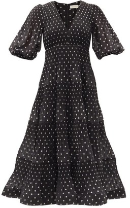 Zimmermann Puff-sleeve Polka-dot Voile Midi Dress - Black White