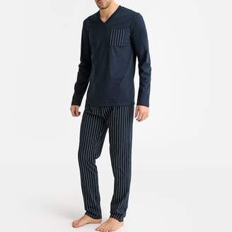 La Redoute Collections Cotton Pyjamas with Long-Sleeves and Striped Bottoms